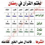 جدول ختم قرآن در ماه مبارک رمضان