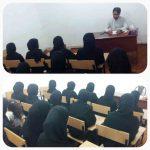 جلسه توجیهی شیخ امین حمیدی بستکی در مدرسه فاطمه الزهراء چیرویه